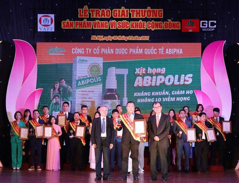 Xịt họng Abipolis vinh dự nhận sản phẩm vàng vì sức khỏe cộng đồng